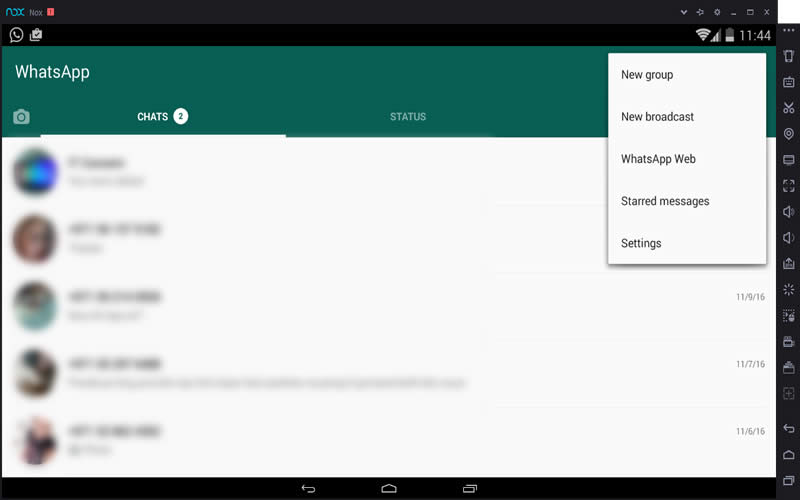 WhatsApp Running on Nox Android Emulator - App Player