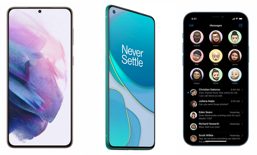Samsung's Galaxy S21+ vs. the OnePlus 8T and the iPhone 12 Pro Max