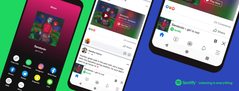 Facebook introduces a new miniplayer that streams Spotify from the Facebook app –
