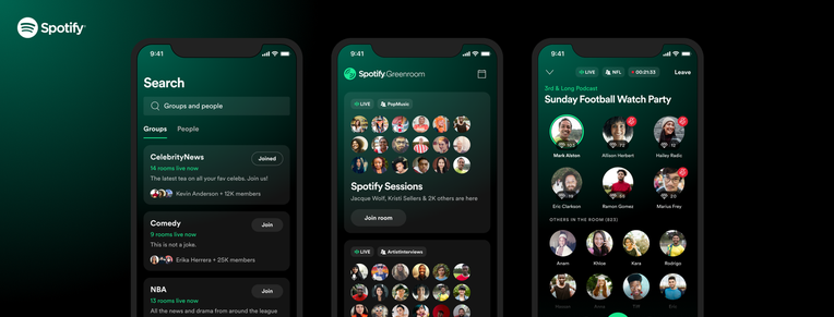 Spotify's Clubhouse rival, Greenroom, tops 140K installs on iOS, 100K on Android –